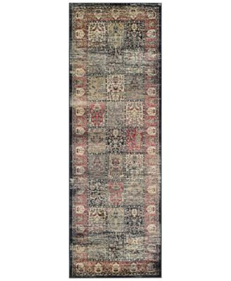 "CLOSEOUT! HARAZ HAR999 Black/Red 2'7"" x 7'10"" Runner Rug"