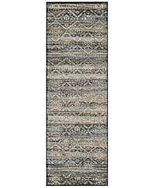 "CLOSEOUT! Couristan HARAZ HAR466 Blue 2'7"" x 7'10"" Runner Rug"