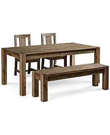 "Canyon 4 Piece Dining Set, Created for Macy's,  (72"" Table, 2 Side Chairs and Bench)"