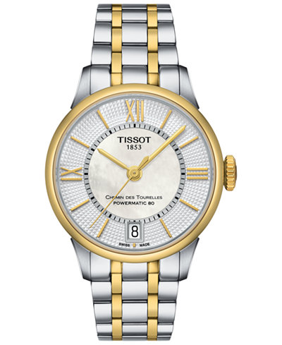 Tissot Women's Swiss Automatic Chemin Des Tourelles Two-Tone Stainless Steel Bracelet Watch 32mm T0992072211800