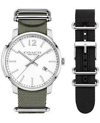 COACH MEN'S BLEEKER INTERCHANGEABLE BLACK/OLIVE NYLON NATO