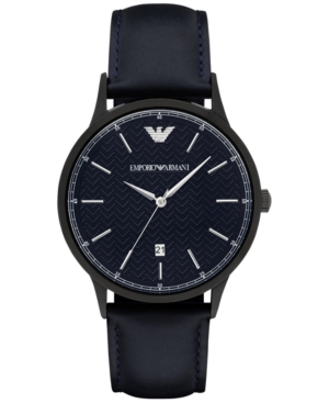 Emporio Armani Men's Renato Blue Leather Strap Watch 43mm