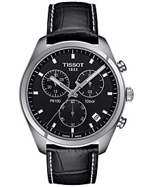 Men's Swiss Chronograph Tissto PR 100 Black Leather Strap Watch 41mm T1014171605100