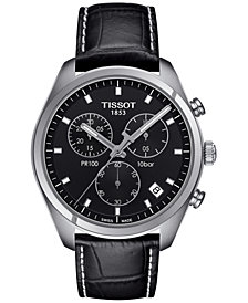 Tissot Men's Swiss Chronograph Tissto PR 100 Black Leather Strap Watch 41mm T1014171605100