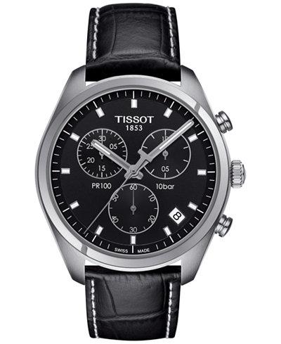 Tissot Men S Swiss Chronograph Tissto Pr 100 Black Leather