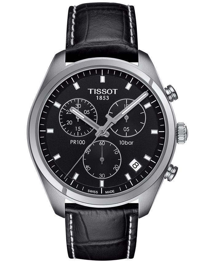 Tissot - Men's Swiss Chronograph Tissto PR 100 Black Leather Strap Watch 41mm T1014171605100