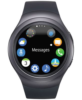 Unisex Dark Gray Round Samsung Gear S2 Watch 42mm R7200ZKAXAR