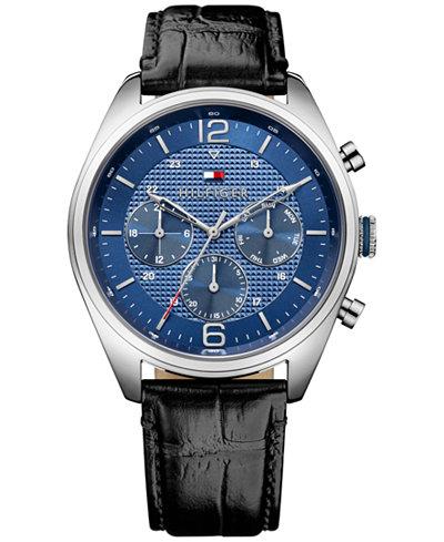 Tommy Hilfiger Men's Sophisticated Sport Black Leather Strap Watch 44mm 1791182