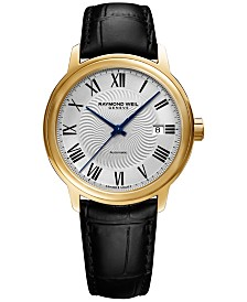 RAYMOND WEIL Men's Swiss Automatic Maestro Black Leather Strap Watch 40mm 2237-PC-00659