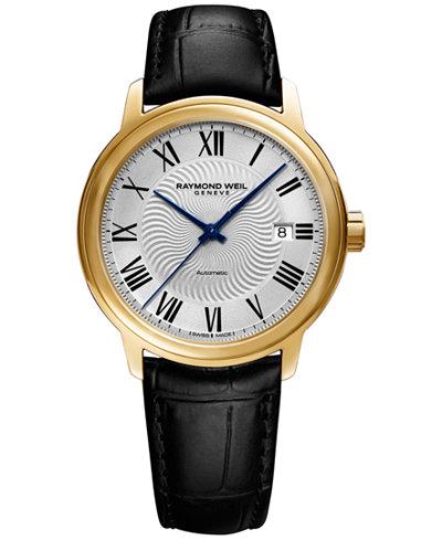 RAYMOND WEIL Men's Swiss Automatic Maestro Black Leather Strap Watch 40mm 2237-PC-00659
