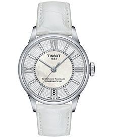 Tissot Women's Swiss Automatic Chemin Des Tourelles Diamond Accent White Leather Strap Watch 32mm T0992071611600