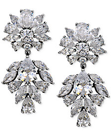 Nina Silver-Tone Cubic Zirconia Drop Earrings