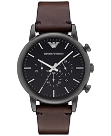 Men's Chronograph Dark Brown Leather Strap Watch 46mm AR1919