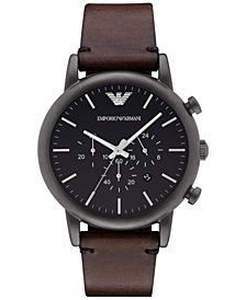 Emporio Armani Men's Chronograph Dark Brown Leather Strap Watch 46mm AR1919