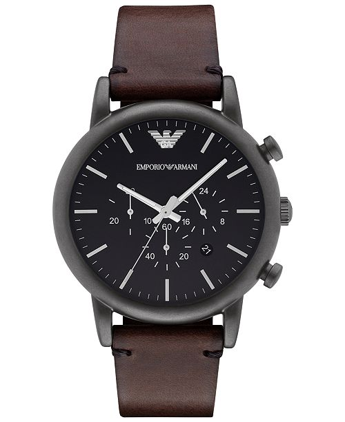 new styles sale online order Men's Chronograph Dark Brown Leather Strap Watch 46mm AR1919