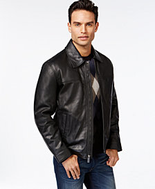 Perry Ellis Open Bottom Leather Jacket with Lining