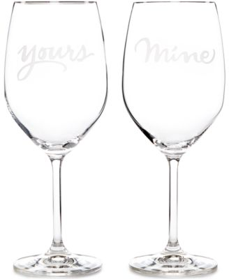 Two of a Kind Yours & Mine Wine Glasses, Set of 2