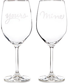 kate spade new york Two of a Kind Yours & Mine Wine Glasses, Set of 2