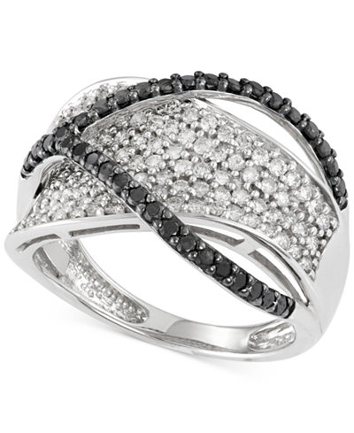 Black and White Diamond (1 ct. t.w) Crossover Ring in 14k White Gold