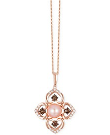 Chocolatier® Pink Freshwater Pearl (8mm) and Diamond (3/4 ct. t.w.) Flower Pendant Necklace in 14k Rose Gold