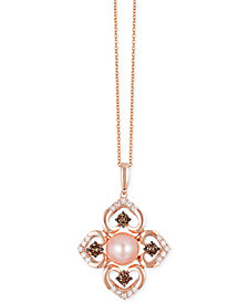 Le Vian Chocolatier® Pink Freshwater Pearl (8mm) and Diamond (3/4 ct. t.w.) Flower Pendant Necklace in 14k Rose Gold