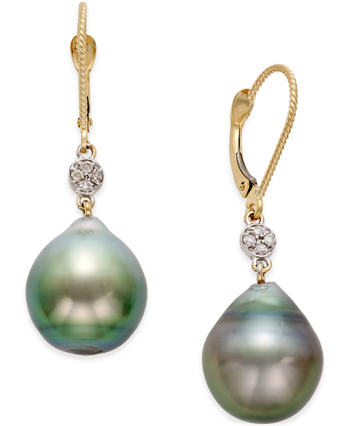 Macy's - Cultured Tahitian Pearl (12mm) and Diamond Accent Earrings in 14k Gold