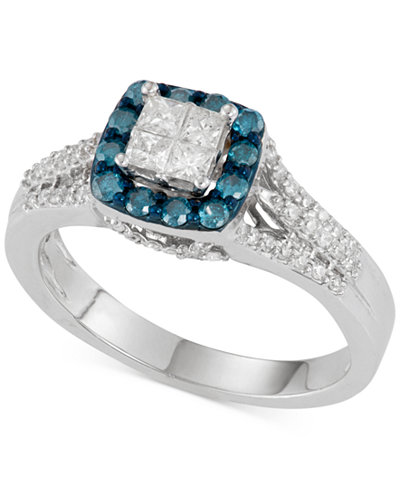 Blue and White Diamond Ring (3/4 ct. t.w.) in 10k White Gold