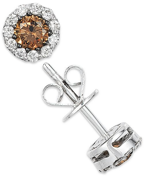 White And Chocolate Diamond Stud Earrings In 14k Gold 1 2 Ct T W