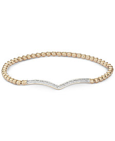 wrapped™ Diamond Chevron Stretch Bead Bracelet (1/6 ct. t.w.) in 14k Gold over Sterling Silver, Created for Macy's