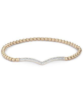 wrapped™ Diamond Chevron Stretch Bead Bracelet 1 6 ct t w in