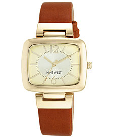 Nine West Women's Honey Brown Leather Strap Watch 37x36mm NW-1840CHHY