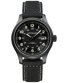 Men's Swiss Automatic Khaki Field Black Canvas Strap Watch 42mm H70575733
