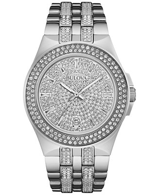 Bulova Men's Pavé Crystal Stainless Steel Bracelet 96B235