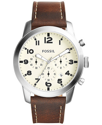 Fossil Men's Chronograph Pilot 54 Dark Brown