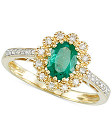 RARE Featuring GEMFIELDS Emerald (3/5 ct. t.w.)  and Diamond (1/6 ct. t.w.) Flower Ring in 14k Gold
