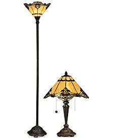 Dale Tiffany Brena Metal Lamp Set