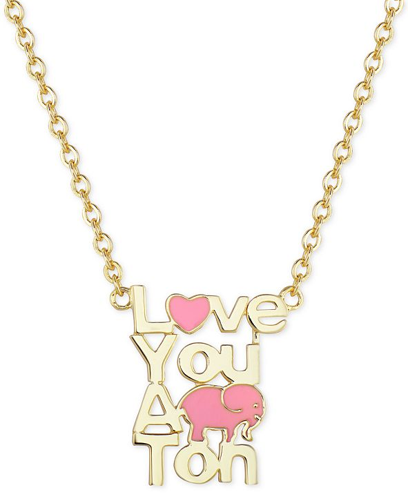 Macy's Children's Enamel Love You A Ton Pendant Necklace in 18k Gold over Sterling Silver