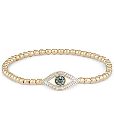 wrapped™ Diamond Evil Eye Stretch Bead Bracelet (1/6 ct. t.w.) in 14k Gold Over Sterling Silver, Created for Macy's
