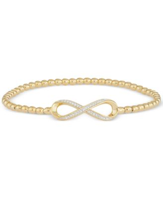 Diamond Infinity Stretch Bead Bracelet (1/6 ct. t.w.) in 14k Gold over Sterling Silver, Created for Macy's