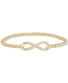 wrapped™ Diamond Infinity Stretch Bead Bracelet (1/6 ct. t.w.) in 14k Gold over Sterling Silver, Created for Macy's