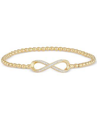 wrapped™ Diamond Infinity Stretch Bead Bracelet 1 6 ct t w in