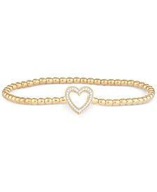 Diamond Heart Stretch Bead Bracelet (1/6 ct. t.w.) in 14k Gold over Sterling Silver, Created for Macy's
