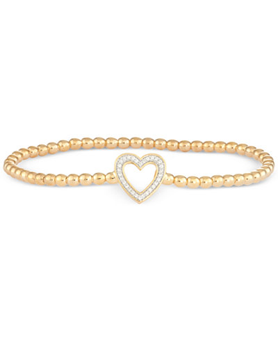 wrapped™ Diamond Heart Stretch Bead Bracelet (1/6 ct. t.w.) in 14k Gold over Sterling Silver, Created for Macy's