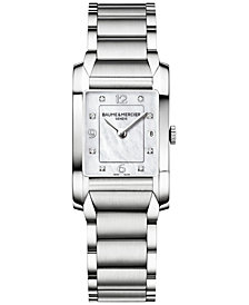 Baume & Mercier Women's Swiss Hampton Diamond Accent Stainless Steel Bracelet Watch 35x22mm M0A10050