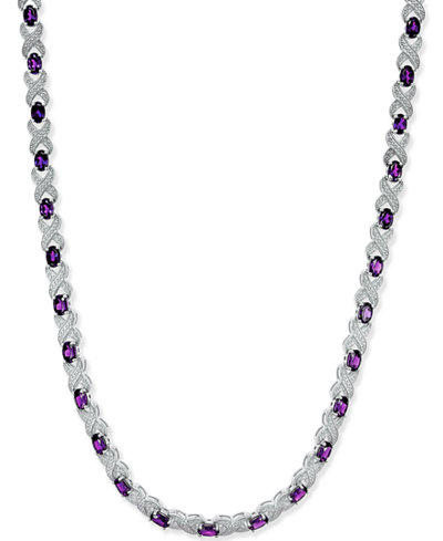 Amethyst (17 ct. t.w.) and Diamond Accent Collar Necklace in Sterling Silver
