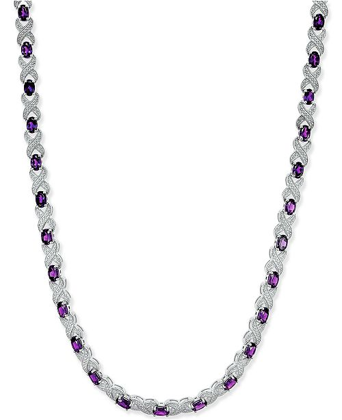 Macy's Amethyst (17 ct. t.w.) and Diamond Accent Collar Necklace in Sterling Silver