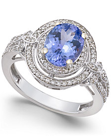 Tanzanite (1-3/4 ct. t.w.) and Diamond (2/5 ct. t.w.) Ring in 14k White Gold