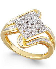 Diamond Cluster Ring (1/7 ct. t.w.) in Gold-Plated Sterling Silver
