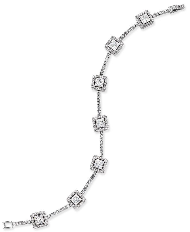 Eliot Danori Silver-Tone Square Crystal Bracelet, Created for Macy's