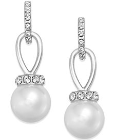 Charter Club Imitation Pearl and Pavé Drop Earrings, Created for Macy's